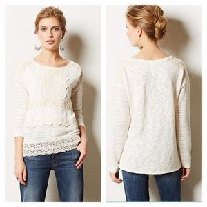 ANTHROPOLOGIE Crocheted Heirloom Pullover Top X36